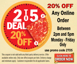 2TO5 Deal. 20% off you entire order
